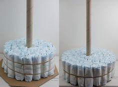 Windeltorte selber basteln mit Anleitung für die Grundform! DIY diaper cake