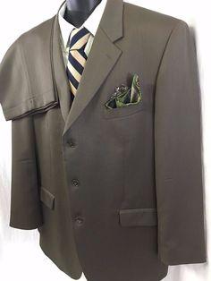 2PC Jones New York Mens Suit Sport Coat Slacks Dark Brown 48L Wool Classic Chic #JonesNewYork #ThreeButton