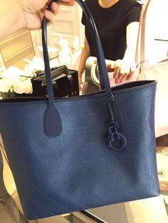 Dior Panarea Rosato Canvas Cannage Tote Bag Blue