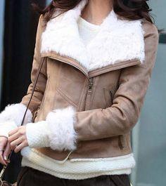 Stylish Lambs wool long-sleeved lapels- Coats    Coats _BT (coffee,Khaki,Light,Blue)