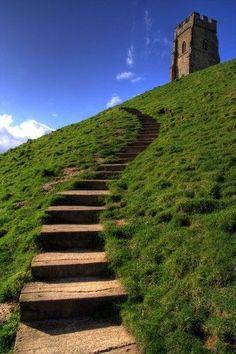 Steps up to Glastonbury Tor, Somerset, England Glastonbury England, Glastonbury Abbey, Glastonbury Somerset, Somerset England, England And Scotland, Holiday Places, Old Farm Houses, Perfect World, Stonehenge