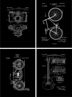 DIY and Freebies: 20 Free Vintage Printable Blueprints and Diagrams. Vintage Printable, Printable Wall Art, Bicycle Printable Free, Blueprint Art, Room Deco, Last Minute Gifts, Free Prints, Grafik Design, Scrapbook