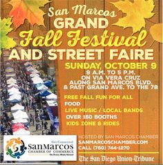 BUSINESSES:  HAVE YOU BOOKED YOUR BOOTH SPACE FOR THIS SUNDAY'S SAN MARCOS CHAMBER FALL FESTIVAL & STREET FAIR?  Sunday, October 9, 2016, 9 AM - 5 PM Via Vera Cruz, between Grand Ave and San Marcos Blvd, San Marcos, CA  #smcc #smcoc #chamber #sanmarcos #sanmarcosca #sanmarcoschamber #festival #fair #fall #fallfestival #fallfair #outdoors #vendors #booths #rides #children #kids #fashion #food #fun  #sanmarcoschamberca Vera Cruz, Street Fair, Local Bands, Kids Zone, Live Music, Kids Fashion, October, Sunday, Outdoors