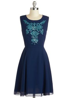 Quite a Gemini Dress - Mid-length, Blue, Rhinestones, Sequins, Party, A-line, Sleeveless, Scoop, Cocktail
