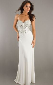 White Sheath/Column Spaghetti Straps Natural Long/Floor-length Sleeveless Crystal Chiffon Sweep/Brush Train Lace-up Prom Dresses Dress