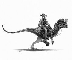The sheriff keeps everyone in check on his awesome Dilophosaurus