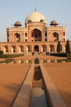 My favorite place in Delhi !     Humayuns tomb reflected in a waterway in its Mughal garden - Delhi, India