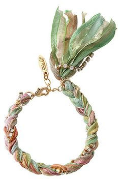 Cute Love Need! DIY this soon! What kind of ribbon should I use? Vintage ribbon? Green rhinestones wrap stack bracelet