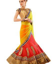 Yellow Stone Worked Net,Satin Lehenga Saree With Blouse at Mirraw