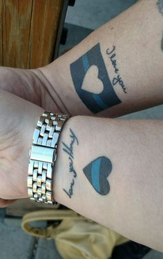 Thin blue line couples tattoo