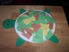 Turtle Craft - paper plate, torn construction paper, pre cut the head and feet…