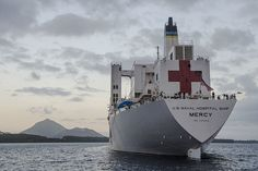 USNS Mercy sits at anchor off the coast of Rabual, Papua New Guinea, during the 2015 mission. (U.S. Air Force/Senior Airman Peter Reft)