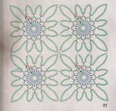Crochet Stitches Chart, Crochet Mandala Pattern, Crochet Motifs, Crochet Diagram, Crochet Squares, Crochet Granny, Crochet Doilies, Crochet Flowers, Crochet Wool