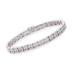 More than decorations, Gregg Ruth designs are an attitude, a lifestyle, and a statement. Here the Malibu, California-based designer presents a magnificent, majestic and mesmerizing 4.55 ct. t.w. diamond tennis line bracelet that raises the bar on style and elegance. A striking presentation that will earn you plenty of compliments. Box clasp, 18kt white gold bracelet. Free shipping & easy 30-day returns. Fabulous jewelry. Great prices. Since 1952.