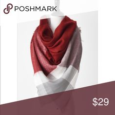 """Cranberry and Gray Blanket Scarf This blanket scarf is gorgeous! Made of 100% soft acrylic, it measures 57"""" x 57"""". It is beautiful on and can be worn in so many ways!!! mackenzi lane Accessories Scarves & Wraps"""