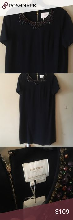 NWT Kate Spade LBD Jewel Neckline 10 Dress Gorgeous new Kate Spade dress.  Size 10.  Exposed gold tone zipper.  Beautiful jewel details at neck.  Stretch black fabric, thick, and short sleeves. kate spade Dresses