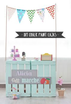 Diy con chalk paint pallets with buntimg. Diy For Kids, Crafts For Kids, Kids Fun, Kids Market, Ideas Para Fiestas, Diy Toys, Play Houses, Kids Playing, Diy And Crafts