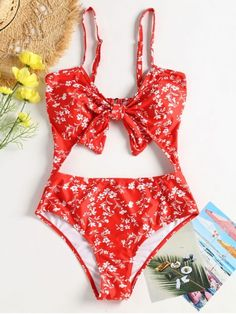 Floral Cut-Out Knotted Swimsuit. Get the comfort you want with this smooth-fitting bikinis, the material is soft and stretchy for a cozy fit and has a tiny floral print throughout. Strapless bikini top has a straight cut hem with padded lining. The matching bikini bottoms are in a high cut leg design at the thongs for a flattering look. #ZAFUL #SWIMWEAR #BIKINI