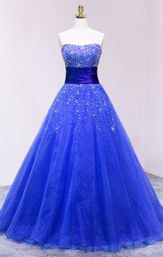 877299a72f Blue Strapless Organza Long Prom Dress With Sweetheart Aranyos Ruhák,  Menyasszonyi Ruhák, Sexy Dresses