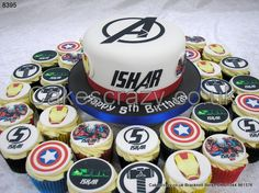Avengers Assemble.... Now is your chance to become a defender of the earth with this Advengers themed cake and cupcakes. A main cake decorated with logos of the team, and topped with an Avengers style logo with childs name in the same style. The cupcakes are decorated with buttercream and superhero topper of Hulk, Antman, Thor, Ironman, and customised number 5s