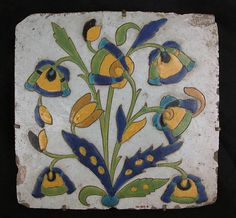 18th c. Stonepaste glazed tile, attributed to Iran.