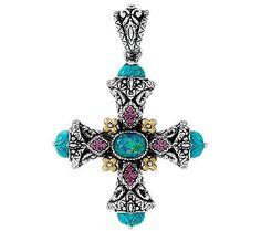 Barbara Bixby Sterling & 18K Opal Triplet & Turquoise Gemstone Cross