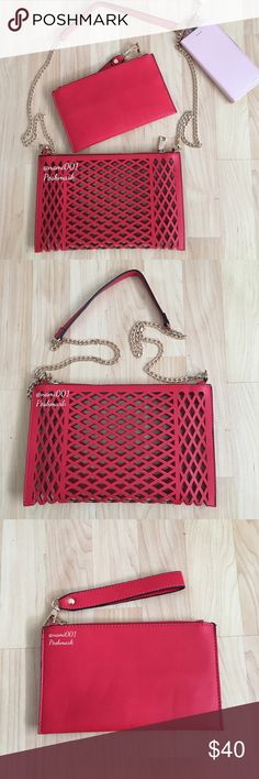 """Red Laser Cut Crossbody Clutch Wristlet Bag NWOT This adorable laser cut crossbody is very versitile as it can also be used in several different ways. Detach the straps and use as a clutch. Also comes with a separate wristlet with a detachable strap. Detach the wristlet strap and attach the the laser cut purse and use as a wristlet. Perfect for a date night or a girl's night out. Laser cut measures: 11"""" x 7"""" with a detachable 23"""" strap. Bonus wristlet measures: 8.5"""" x 5"""". Pretty red that…"""