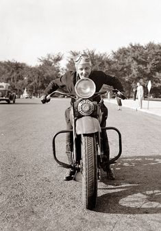 Today's picture is from 1937, and it shows a woman who recently received her motorcycle drivers license. The picture was taken in Washington DC. I like the pose and goggles.