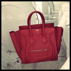 57465fbec6 Red Celine Mini Luggage Tote - one day you shall be mine too