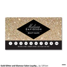 Gold Glitter and Glamour Salon Loyalty Punch Card Double-Sided Standard Business Cards (Pack Of 100)