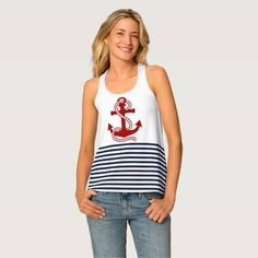 (Nautical Navy Blue White Stripes and Red Anchor Tank Top) #Anchor #Blue #Chic #Color #Elegant #Graphic #Modern #Nautical #NavyBlue #Ocean #Pattern #Patterned #Red #Sailing #Sailor #Sea #Ship #Striped #Stripes #Trendy #Vector #Vintage #White is available on Funny T-shirts Clothing Store http://ift.tt/2fRAVql