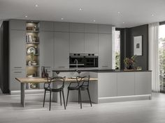 Howdens Kitchens, Handleless Kitchen, Grey Kitchens, Howdens Kitchen Clerkenwell, Fitted Kitchens, Modern Kitchens, Grey Gloss Kitchen, Grey Shaker Kitchen, Grey Kitchen Inspiration