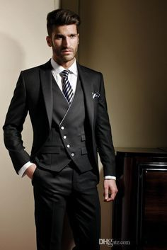 Honesty New Arrival Mens Dinner Party Prom Suits Groom Tuxedos Groomsmen Wedding Blazer Suits jacket+pants+tie K:1364