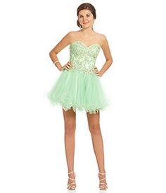 JVN by Jovani Strapless Lace Corset Party Dress