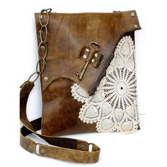 Leather Messenger Bag, so cute!