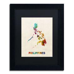 "Trademark Art ""Philippines Map"" by Michael Tompsett Framed Graphic Art Size:"