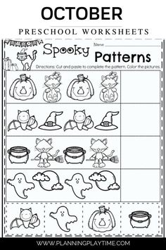 Halloween Spooky Patterns: Worksheet Preschool Halloween Worksheets, Halloween Math, Preschool Worksheets, Halloween Themes, Free Worksheets, Summer Worksheets, Halloween Images, Alphabet Worksheets, Fall Preschool