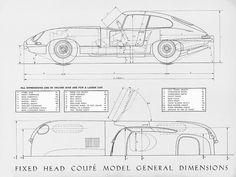 e-type drafting fixed head coupe Jaguar E Type, Jaguar Cars, Car Drawing Pencil, Type E, Pedal Cars, Race Cars, Sport Cars, Garage Art, Vintage Race Car