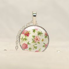 Shabby Chic Pendant Necklace, Red and Green Flower Jewelry with free ribbon or chain CS42 by prideandpendants on Etsy