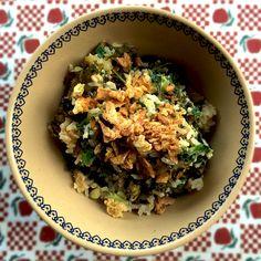 Garlic & Lemon Wholegrain Rice with Kale, Raisins and Pinenuts #recipe #anygivenfood #vegetarian