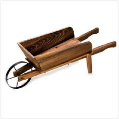 Flower Garden Cart Wagon Country Planter Box Outdoor Fir Wood Plant Stand New  #Country