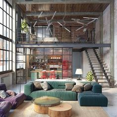 Industrial Loft by Golovach Tatiana and Andrey Kot  with #green details  via @design_interior_homes ✔✔✔ --- #luxury #luxuryhome #architect #luxuryhouse #arquitectura #luxurylife #luxurylifestyle  #instagram #instadaily #lights #homes #homestyle #instagood #homestyling #house #loft #architecture #architectureporn #design #modern #architects #instalike #instaday #interiordesign #instacool #instahome  via ✨ @padgram ✨(http://dl.padgram.com)