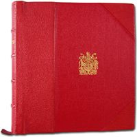 Great Britain's King George V:  He began the Royal Philatelic Collection in the late 1800s. This red album is from his collection.