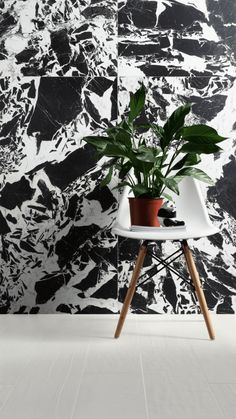 Then go for Ruskin - these black and white marble effect tiles have a strong appeal and are a sure way to bring a statement and drama into the room. Request samples on our website. Marble Case, Marble Tiles, Marble Floor, Tile Floor, Wall Finishes, Floor Finishes, Tiles London, Black And White Marble, Marble Effect