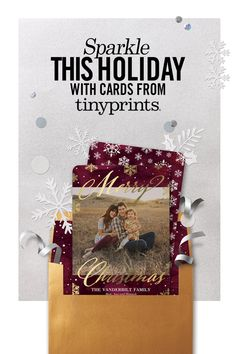 Dazzle your friends and family with Tiny Print's unique and creative holiday cards! Add a touch of glitz to the season with our premium selection of foil-stamped, glitter or tri-fold cards. Spread the cheer and discover your holiday card today!