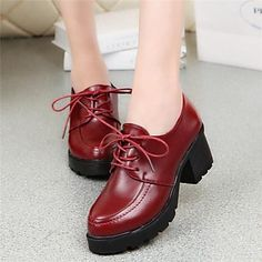 Women's Shoes Chunky Heel Heels/Round Toe Oxfords Dress Black/Red – USD $ 29.99