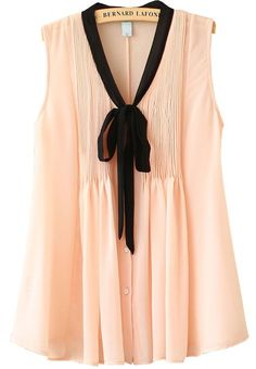 Pink Sleeveless Ribbon Pleated Chiffon Blouse. Dainty.: