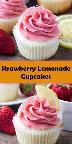 Strawberry Lemon Cupcakes, Homemade Strawberry Lemonade, Strawberry Recipes, Cake Mix Cupcakes, Gourmet Cupcakes, Cupcake Cakes, Wedding Cupcakes, Graduation Cupcakes, Homemade Cupcake Recipes