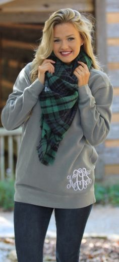 Monogrammed Comfort Colors Sweatshirt, Blanket Scarf and Riding Boots - our FAVORITE outfit idea for fall! #outfitgoals #falloutfit