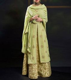 Green Georgette Embroidered Lehenga Set - Frugal2Fab